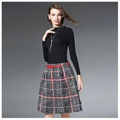 Elabo - Long-Sleeve Knit Panel Check Dress