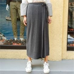 clicknme - Tie-Waist Wrap-Front Wide-Leg Pants