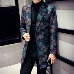 Besto - Floral Print Lapel Knit Coat