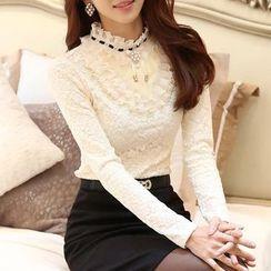 Sienne - Long-Sleeve Fleece-lined Lace Top