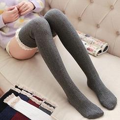 MEIA - 蕾絲邊麻花針織過膝蓋襪