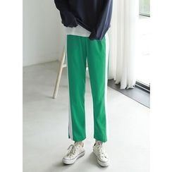 BBAEBBAE - Band-Waist Contrast-Trim Pants