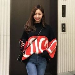 QNIGIRLS - Color-Block Lettering Sweater
