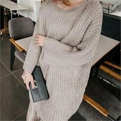 JOAMOM - Drop-Shoulder Long Knit Top