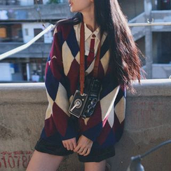BeLLia - Argyle V-neck Cardigan