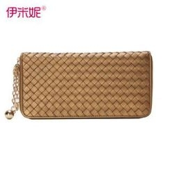 Emini House - Genuine-Leather Woven Long Wallet
