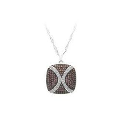 BELEC - 925 Sterling Silver Pendant with White and Brown Cubic Zircon and Necklace
