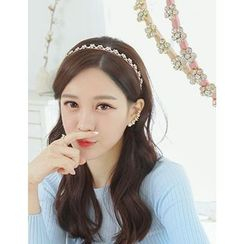 soo n soo - Rhinestone-Flower Slim Hair Band