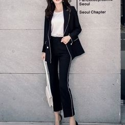 Queen Bee - Set: Contrast Trim Double-Breasted Blazer + Dress Pants