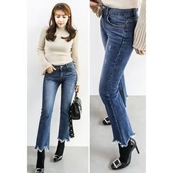 INSTYLEFIT - Cutout-Hem Boot-Cut Jeans