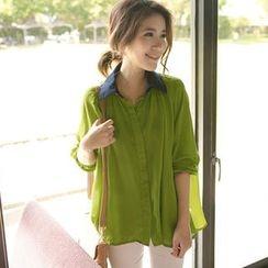 Tokyo Fashion - Contrast Collar Semi-Sheer Blouse