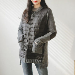 JUSTONE - Quilted-Front Zip-Up Wool Knit Jacket