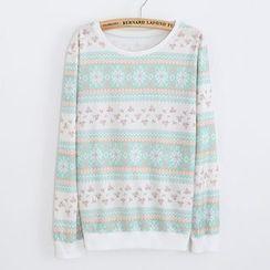 Maymaylu Dreams - 浅绿条纹雪花长袖T恤上衣