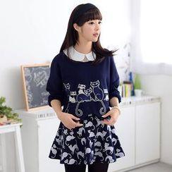 59 Seconds - Set: Cat Appliqué Pullover + Cat Print A-Line Skirt