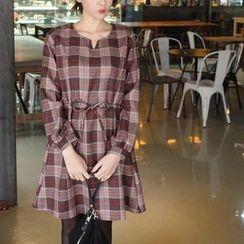 mimi&didi - Drawstring-Waist Plaid Cotton Dress