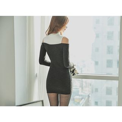 UUZONE - CutOut-Shoulder Mini Dress