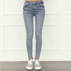 DANI LOVE - Cutout-Hem Washed Skinny Jeans