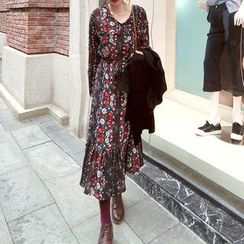 Kaboom - Floral Print Long Sleeve Midi Chiffon Dress