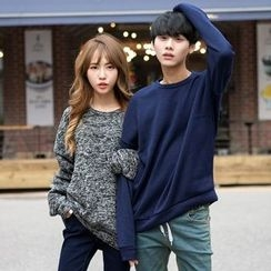 TOMONARI - Couple Drop-Shoulder Mélange Sweatshirt