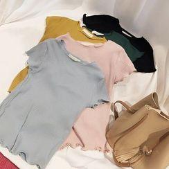 時尚麻豆家 - 羅紋短袖T裇