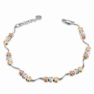 MaBelle - 14K Italian Tri-Color Yellow Rose and White Gold Diamond-Cut Triple Circle Beads With Wave Bracelet (6.5'), Women Jewelry in Gift Box