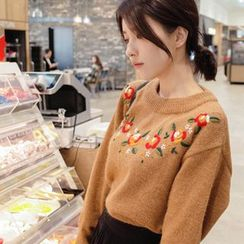 mimi&didi - Flower Embroidered Wool Blend Sweater