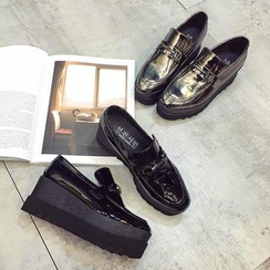 Zapatos - Patent Platform Wedge Loafers