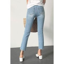 ATTYSTORY - Pocket-Front Washed Straight-Cut Jeans