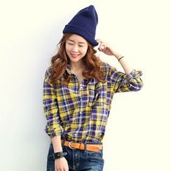 NANING9 - Tab-Sleeve Plaid Shirt