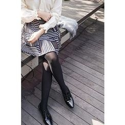 CHERRYKOKO - Accordion-Pleat Patterned Mini Skirt