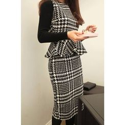 CHERRYKOKO - Set: Sleeveless Houndstooth Wool Blend Peplum Top + Pencil Skirt