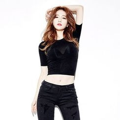 chuu - Slim-Fit Cropped T-Shirt