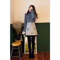 CHERRYKOKO - Flower-Embroidered A-Line Mini Skirt