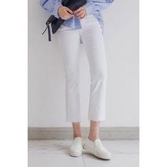 migunstyle - Frey-Hem Boot-Cut Pants