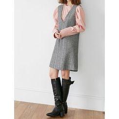 FROMBEGINNING - Sleeveless Herringbone Mini Shift Dress