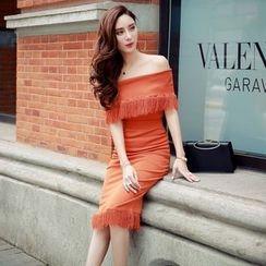 Lovi - 套裝: 流蘇露肩針織上衣 + 長裙
