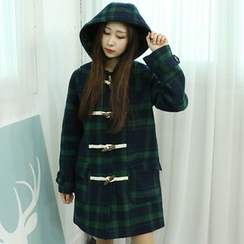 Dodostyle - Hooded Toggle-Button Check Coat