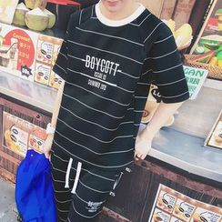 Bay Go Mall - Set: Striped T-Shirt + Striped Sweatshorts