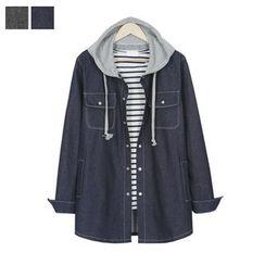 DANGOON - Hood Snap-Button Denim Shirt