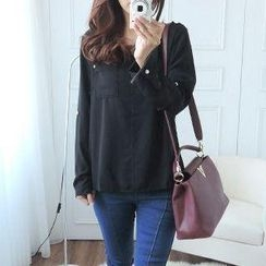 CYNTHIA - Notch-Neck Long-Sleeve Chiffon Blouse