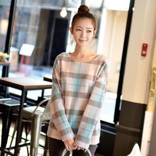 CLICK - Plaid Waffle-Knit Sweater