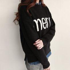 NIPONJJUYA - Lettering Dip-Back Sweater