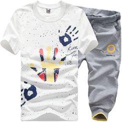 Chic Maison - Set: Short-Sleeve Printed T-Shirt + Drawstring Printed Cropped Pants
