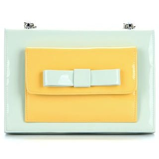Ethel - Bow-Accent Panel Patent Cross Bag