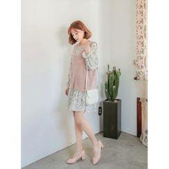 LOLOten - Set: V-Neck Sleeveless Knit Top + Floral-Pattern Dress