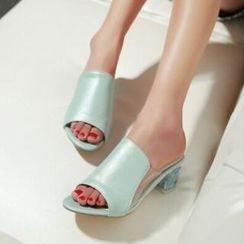 Tomma - Block Heel Slide Sandals