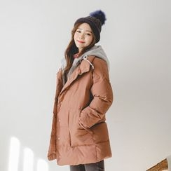 JUSTONE - Inset Mock-Hoodie Thick Puffer Coat