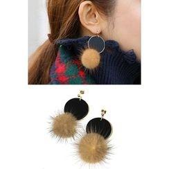 migunstyle - Metallic Faux-Fur Earrings