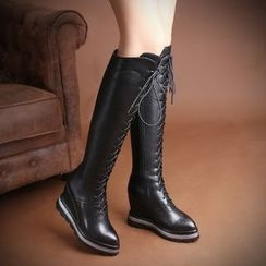 JY Shoes - Hidden Wedge Lace Up Over-the-Knee Boots