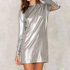 Obel - Metallic Long Sleeve T-Shirt Dress
